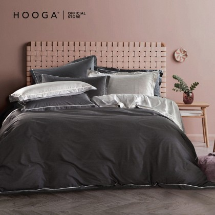 HOOGA Newton Quilt Cover Set Piping Blue/Pink